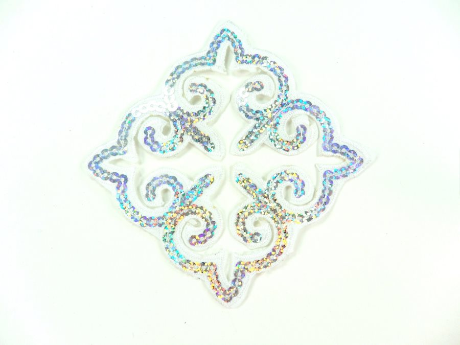 "Sequin Applique Embroidered Edge White and Silver Holographic Motif Clothing Patch 5"" GB897"