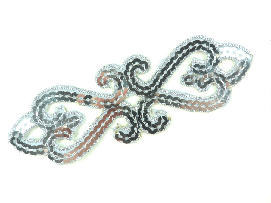 """Sequin Applique Embroidered Edge Silver Motif Clothing Patch 5"""" GB898"""