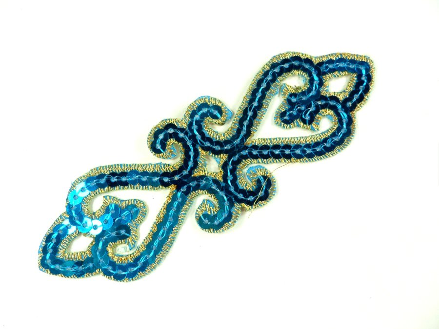 "Sequin Applique Embroidered Edge Turquoise and Gold Motif Clothing Patch 5"" GB898"