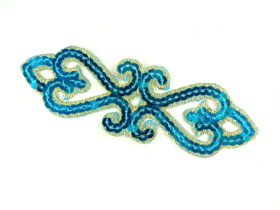 """Sequin Applique Embroidered Edge Turquoise and Gold Motif Clothing Patch 5"""" GB898"""