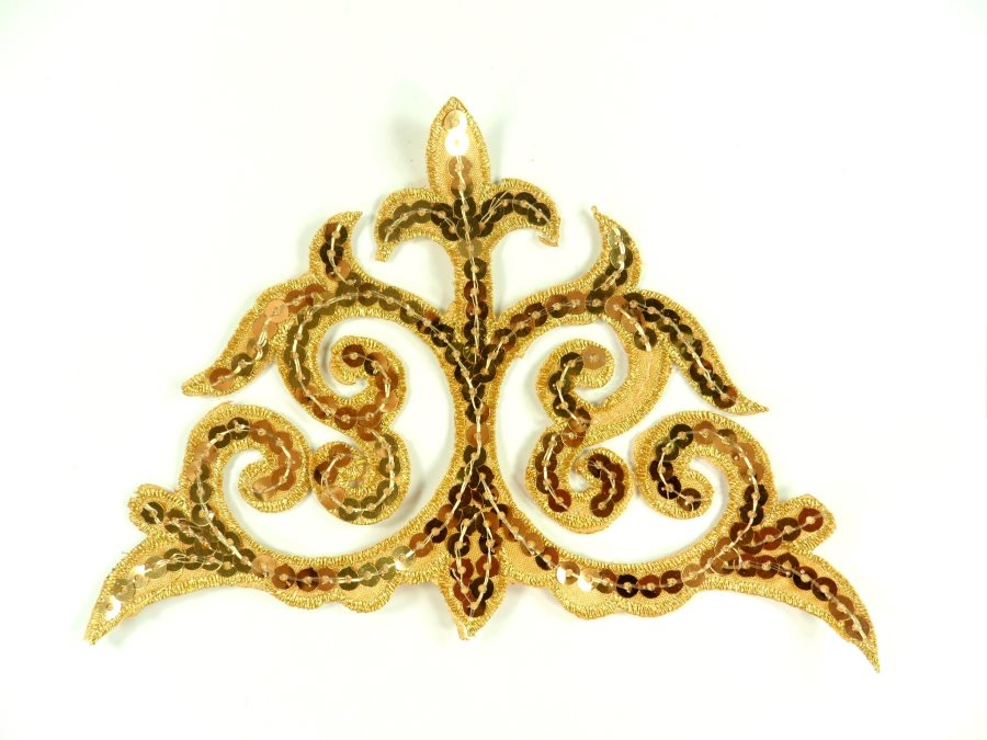 """Sequin Applique Embroidered Edge Gold Motif Clothing Patch 6.25"""" GB899"""