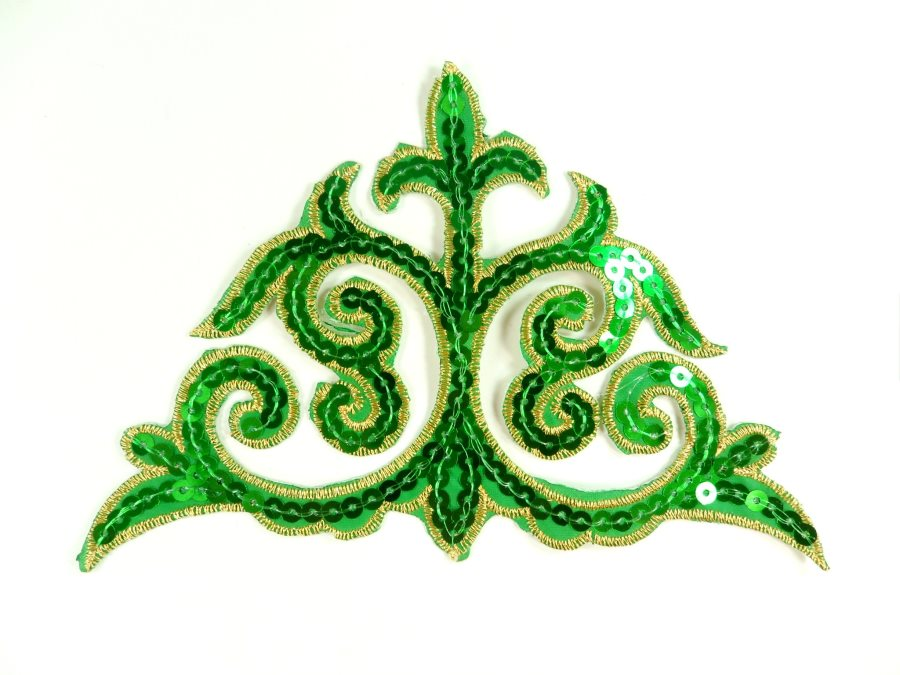 "Sequin Applique Embroidered Edge Green and Gold Motif Clothing Patch 6.25"" GB899"