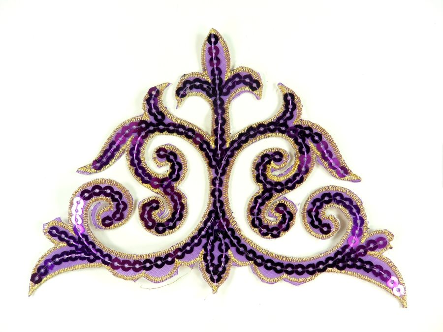 """Sequin Applique Embroidered Edge Purple and Gold Motif Clothing Patch 6.25"""" GB899"""