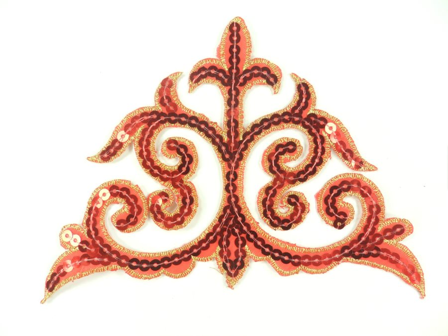 "Sequin Applique Embroidered Edge Red Gold Motif Clothing Patch 6.25"" GB899"