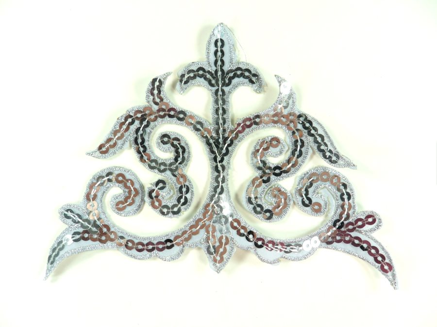 "Sequin Applique Embroidered Edge Silver Motif Clothing Patch 6.25"" GB899"