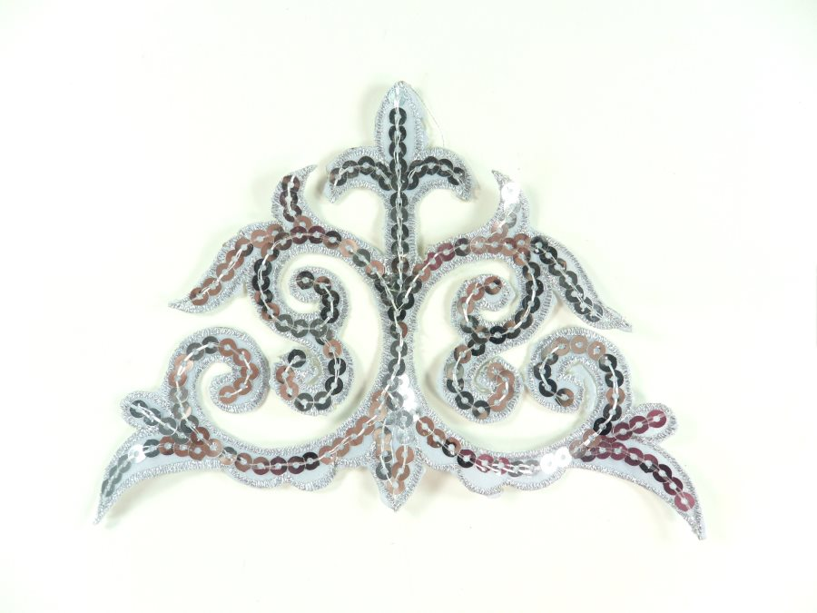 """Sequin Applique Embroidered Edge Silver Motif Clothing Patch 6.25"""" GB899"""
