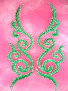 GB89 Embroidered Applique Green Silver Metallic Mirror Pair Iron On 6.75""