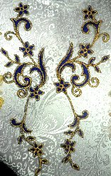 OSGB90 RIGHT SIDE ONLY Blue Gold Metallic Flower Vine Iron On Designer Embroidered Applique 9""