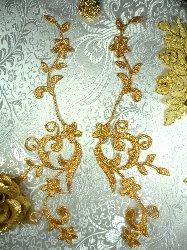 """GB90 MIRROR PAIR Gold Metallic Flower Vine Iron On Designer Embroidered Applique 9"""""""