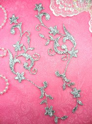 """GB90 MIRROR PAIR Silver Metallic Flower Vine Iron On Designer Embroidered Applique 9"""""""