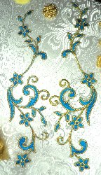 GB90 MIRROR PAIR Turquoise Gold Metallic Flower Vine Iron On Designer Embroidered Applique 9""
