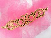 """Sequin Applique Embroidered Edge Gold Motif Clothing Patch 9.5"""" GB900"""