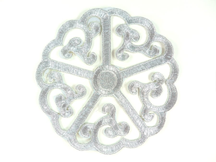 "Silver Embroidered Applique Metallic Designer Scroll Motif  6"" GB905"