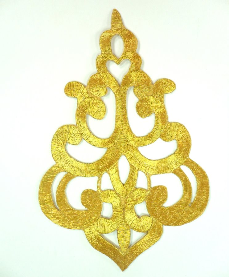 "Embroidered Applique Gold Metallic Designer Scroll Motif Iron on  6.25"" GB906"