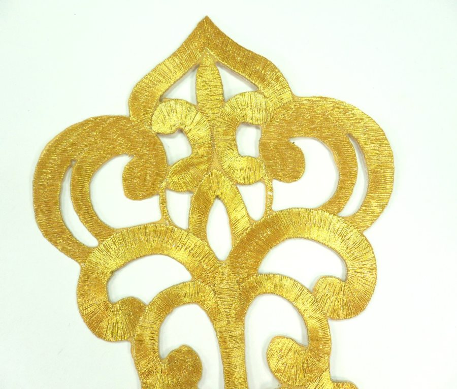 "Embroidered Applique Gold Metallic Designer Scroll Motif Iron on  6.25"" GB906"
