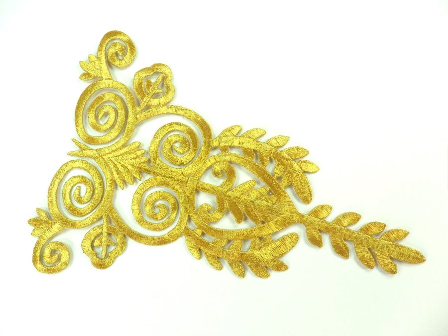 "Embroidered Applique Gold Metallic Designer Scroll Motif Iron on  7.5"" GB907"
