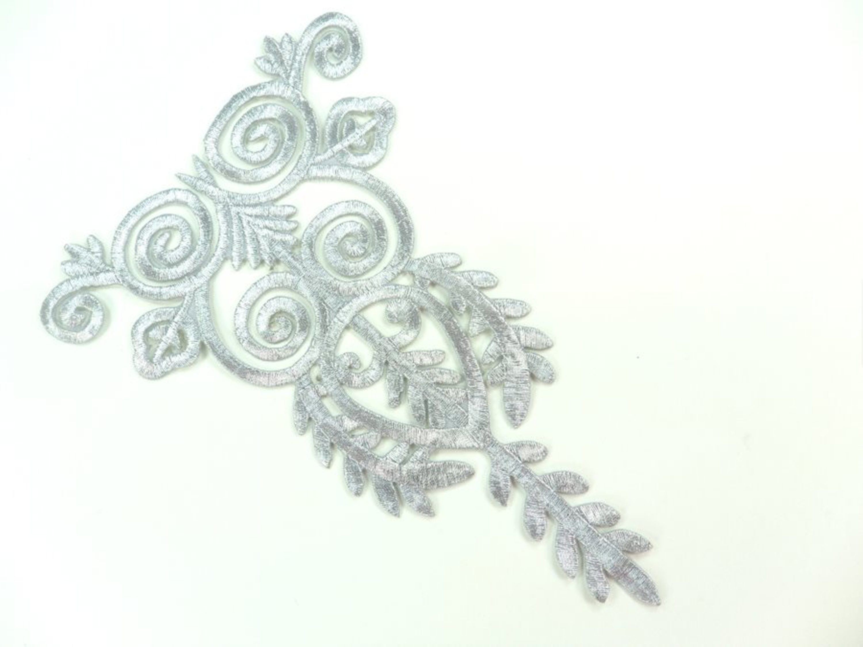 "Silver Embroidered Applique Metallic Designer Scroll Motif 7.5"" GB907"