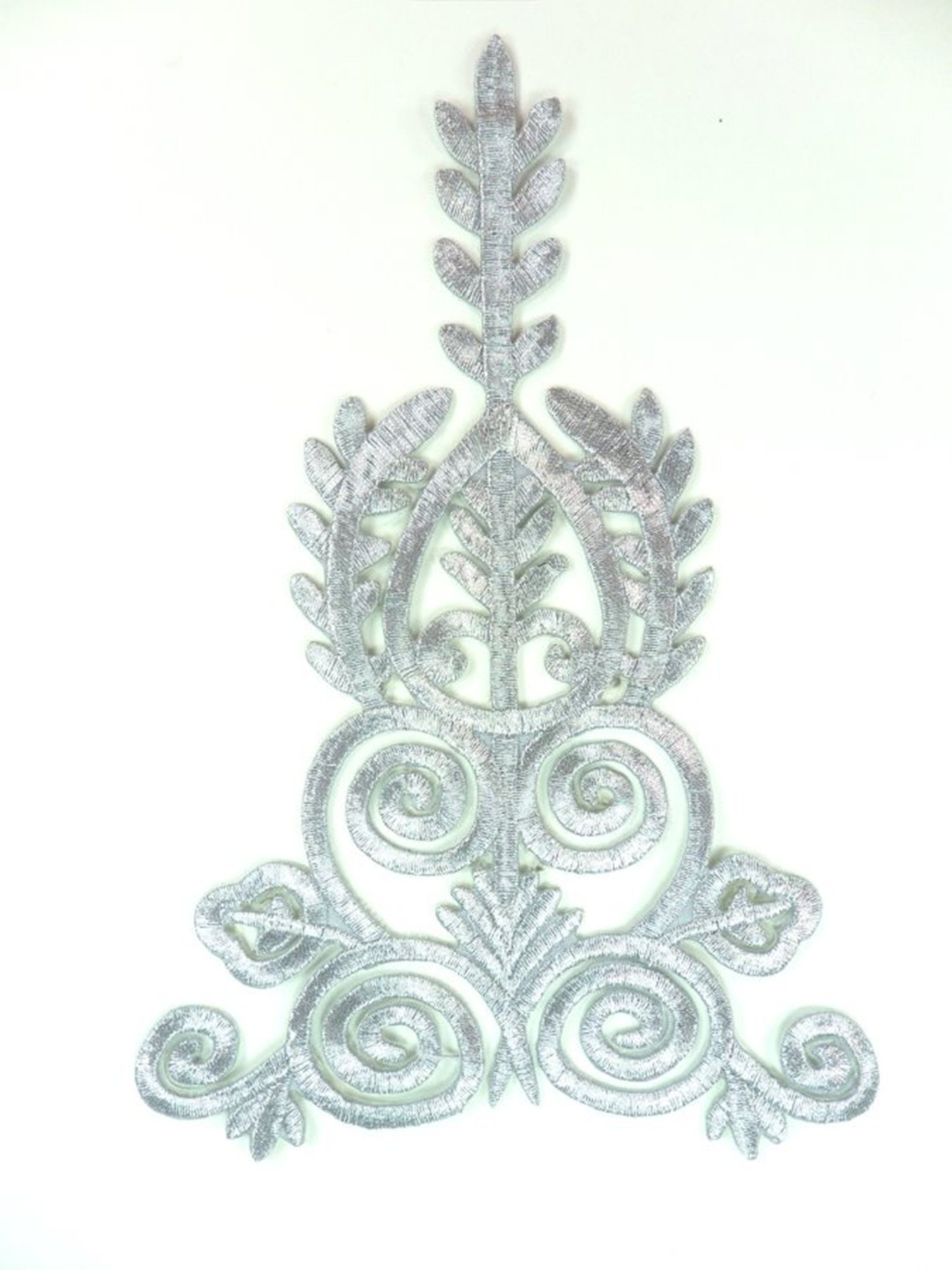 "Silver Embroidered Applique Metallic Designer Scroll Motif 7.5"" GB907"