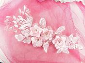 "Pink 3 Dimensional Applique Rhinestone Venice Lace Floral Sewing Clothing Patch 12.5"" GB908"