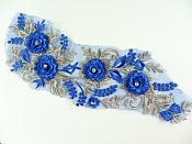 "3D Blue Gold Applique Rhinestones Venice Lace Floral Sewing Clothing Patch 11.5"" GB909"