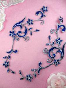 GB90 MIRROR PAIR Blue Silver Metallic Flower Vine Iron On Designer Embroidered Applique 9""