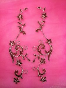 GB90 Embroidered Appliques Burgundy Silver Flower Mirror Pair Vine Iron On 9""
