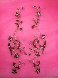 """GB90 MIRROR PAIR Burgundy Gold Metallic Flower Vine Iron On Designer Embroidered Applique 9"""""""