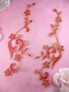 GB90 MIRROR PAIR Fuschia Gold Metallic Flower Vine Iron On Designer Embroidered Applique 9""