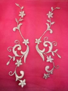 GB90 Embroidered Appliques Pink Silver Flower Mirror Pair Vine Iron On 9""
