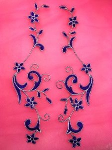GB90 Embroidered Appliques Purple Silver Flower Mirror Pair Vine Iron On 9""