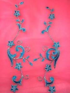 """GB90 Embroidered Appliques Turquoise Silver Flower Mirror Pair Vine Iron On 9"""""""