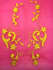 GB90 Embroidered Appliques Yellow Gold Flower Mirror Pair Vine Iron On 9""