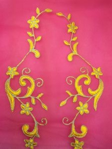 GB90 Embroidered Appliques Yellow Silver Flower Mirror Pair Vine Iron On 9""