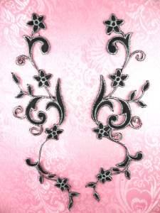 """GB90 MIRROR PAIR Black Silver Metallic Flower Vine Iron On Designer Embroidered Applique 9"""""""