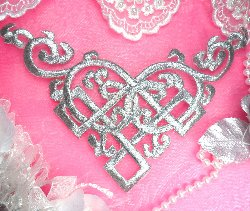 GB91 Silver Metallic Iron On Designer Embroidered Applique 7.5""