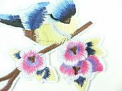 """Embroidered Bird Applique Blue on Branch Iron On 3""""  GB911"""