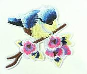 "Embroidered Bird Applique Blue on Branch Iron On 3""  GB911"