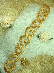 "GB92 Gold Metallic Iron On Designer Embroidered Applique 7.25"""