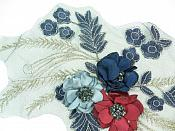 "REDUCED 3 Dimensional Applique Rhinestone Venice Lace Floral Sewing Clothing Patch 14"" RMGB922"