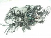 """3D Applique Rhinestone Sequin Venice Lace Floral Sewing Clothing Patch 14.5"""" GB924"""