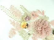 "3D Applique Venice Lace Floral Rhinestone Sewing Clothing Patch 12.5"" GB925"