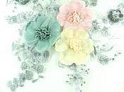"3D Applique Silver Embroidery and Sequins Venice Lace Floral Patch 13.5"" GB926"