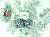 "3D Floral Applique Silver Embroidery Venice Lace Clothing Patch w/ Pearls and Rhinestones 13"" GB927"