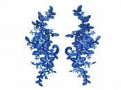 "Applique Venice Lace Floral Sewing Clothing Patch Blue 7.5"" GB929X"