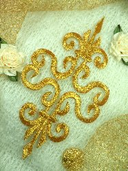 GB93 Gold Metallic Iron On Designer Embroidered Applique 6.25""