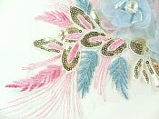 """3 Dimensional Applique Sequin Pearl Venice Lace Floral Sewing Clothing Patch 13"""" GB930"""