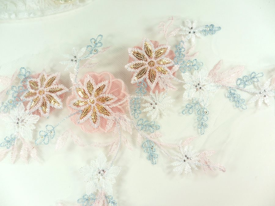 "3 Dimensional Applique Sequin Pearl Venice Lace Floral Sewing Clothing Patch 16.5"" GB931"