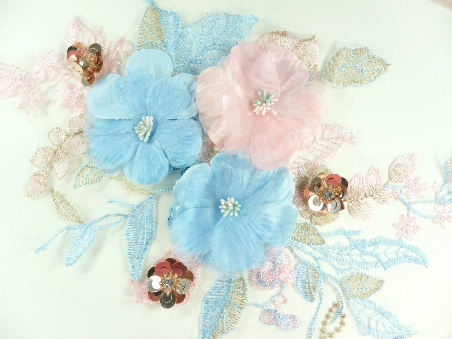 """3 Dimensional Applique Sequin Rhinestone Venice Lace Floral Sewing Clothing Patch 16.25"""" GB932"""