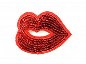 Lip Kiss Applique Sequin Red Iron on Patch for Clothing or Crafts GB934