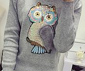 """Owl Applique Sequin Multi-Color Iron on Patch for Clothing or Crafts 10.5"""" GB935"""